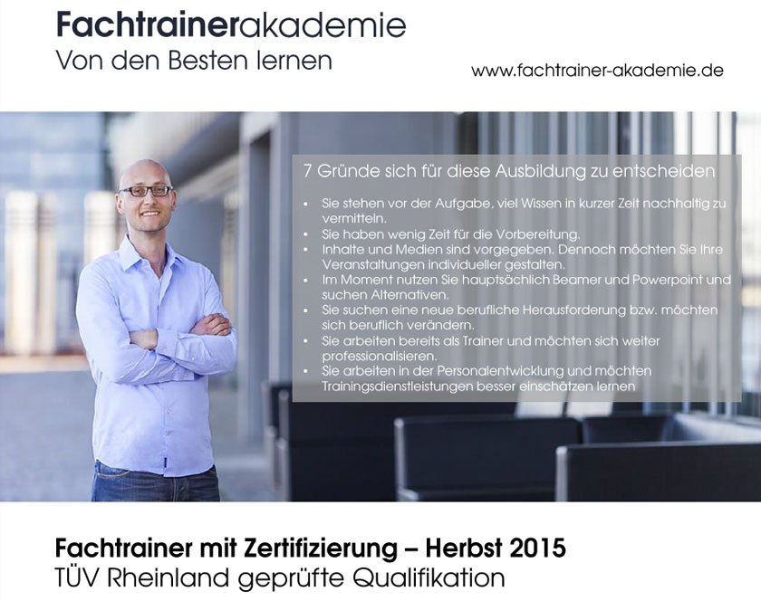 Fachtrainer-Akademie Herbst 2015: Neue Termine